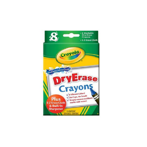 Crayola - Washable Dry Erase Bright Crayons 8 Count