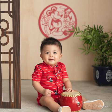Elly Belle Mandarin-Collared Romper - Red Stripes Mickey