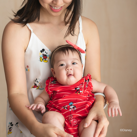 Elly Belle Mia Onesie - Red Stripes Mickey