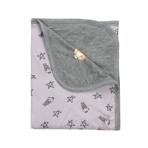 Baa Baa Sheepz Double Layer Blanket Small Star & Sheepz Pink for Kids
