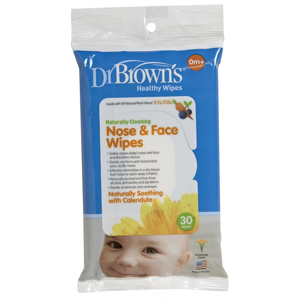 Dr Brown's Nose and Face Wipes - 30 pieces per pack