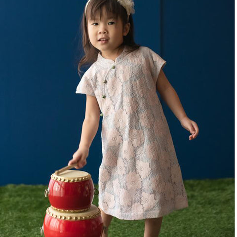 Elly Belle Cheongsam - Blue / Pink Lace