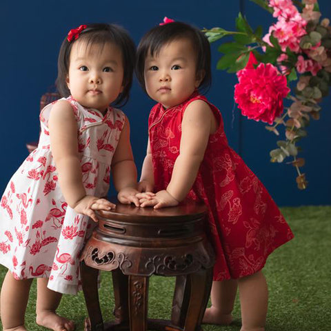 Elly Belle Flare Cheongsam - Red Herons