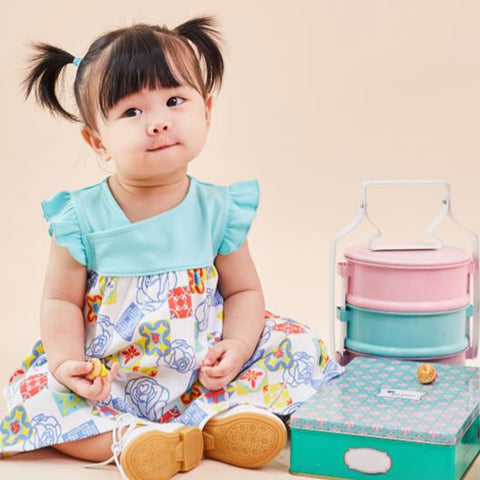 OETEO Peranakan Baby Flutter Sleeve Dress Set - Green