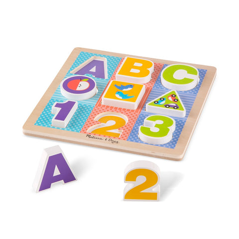 Melissa & Doug First Play Wooden ABC-123 Chunky Puzzle 12 months+