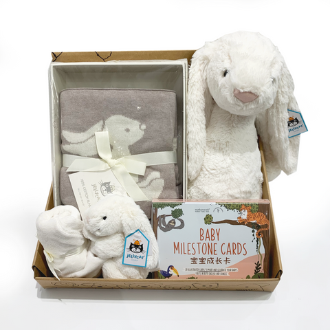 White Bunny JellyCat Gift Set
