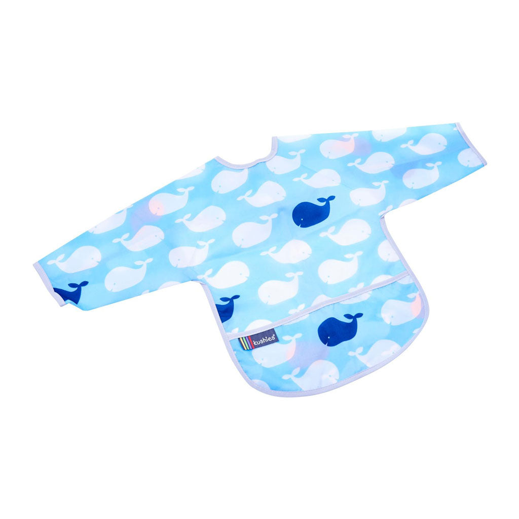 Kushies Blue Whales Clean Bib with Sleeves