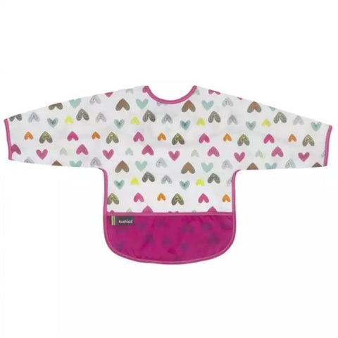 Kushies Waterproof  Clean Bib with Sleeves White Doodle Hearts