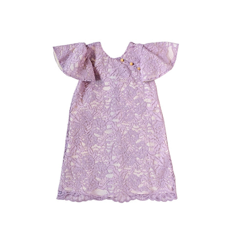 Sea Apple Lavender Lace Flutter Cheongsam
