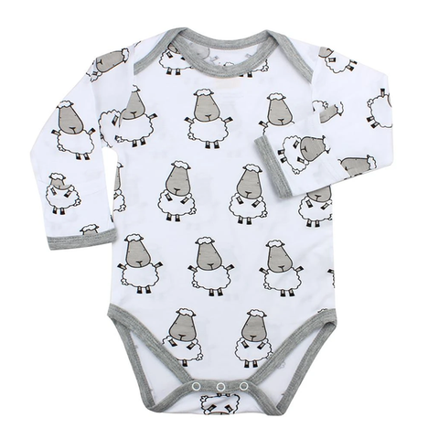 Baa Baa Sheepz Long Sleeve Onesie Big Sheepz White with Grey Border