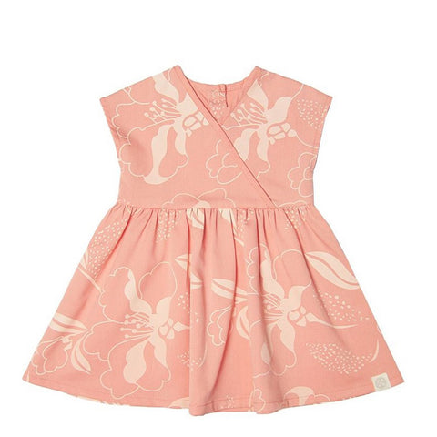 Le Petit Society Cherry Blossom Series - Baby Girl Wrap Dress In Peach