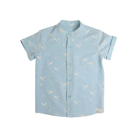 Le Petit Society Cherry Blossom Series - Boys Blue Shirt With Leaves