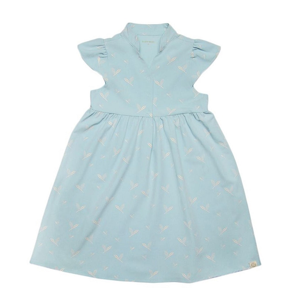 Le Petit Society Cherry Blossom Series - Girls Blue Dress With Leaves