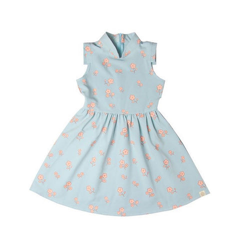 Le Petit Society Cherry Blossom Series - Girls Dress In Blue