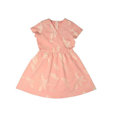 Le Petit Society Cherry Blossom Series - Girls Wrap Dress In Peach