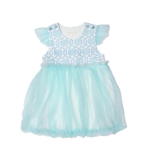 Le Petit Society Chinese Knots Series - Baby Girl Bubble Dress In Blue