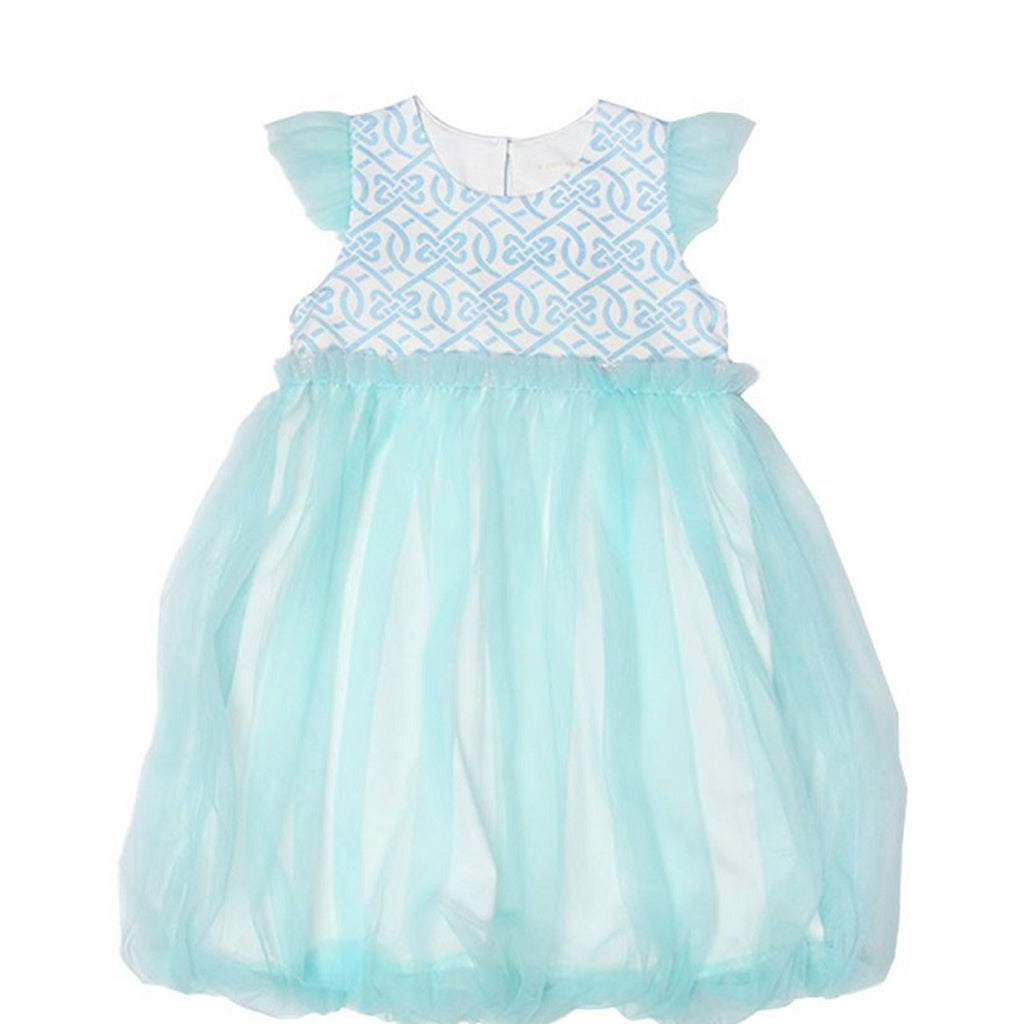 Le Petit Society Chinese Knots Series - Girls Bubble Dress In Blue