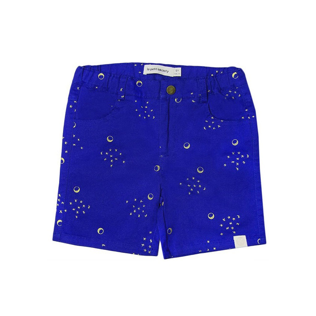 Le Petit Society Crane Series - Boys Blue Bermuda With Moon & Stars