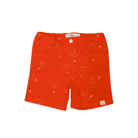 Le Petit Society Crane Series - Boys Red Bermuda With Moon & Stars