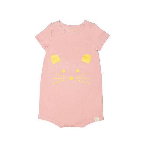 Le Petit Society Mouse Series - Baby Jersey Romper In Dusty Pink