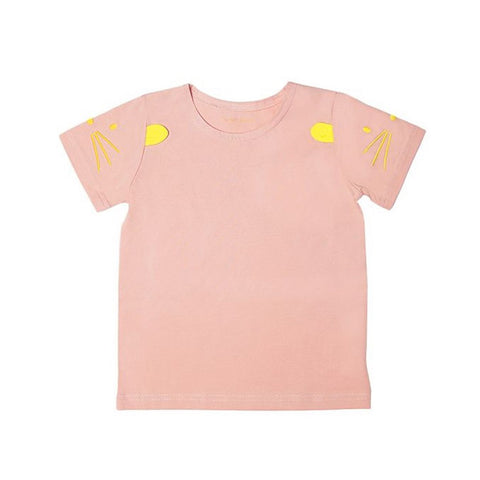 Le Petit Society Mouse Series - Kids Tee In Dusty Pink