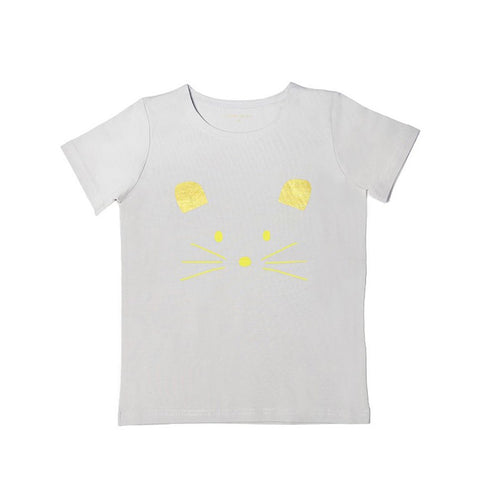 Le Petit Society Mouse Series - Kids Tee In Grey