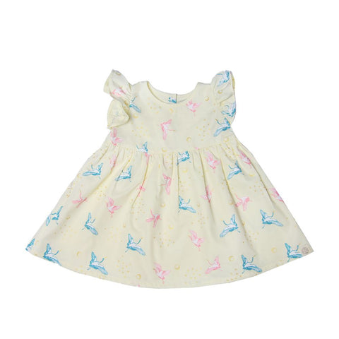 Le Petit Society Crane Series - Baby Girl Dress In Cream
