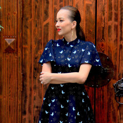 Le Petit Society Crane Series - Ladies Butterfly Sleeves Dress In Navy