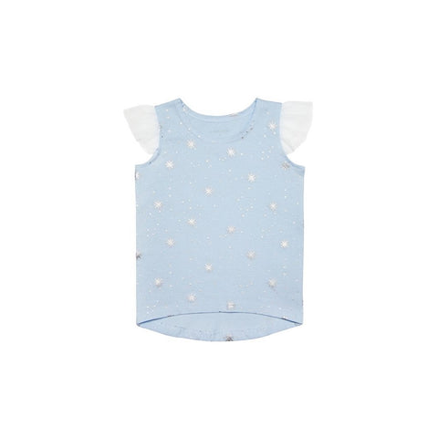 Le Petit Society Girls Blue Tank In Snowflake Print