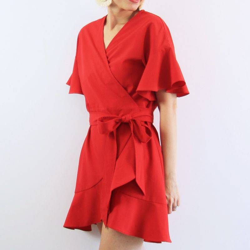 Le Petit Society Lion Dance Series - Ladies Wrap Dress In Red