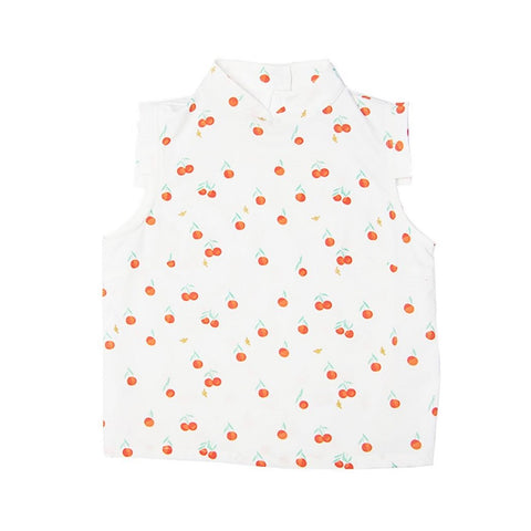 Le Petit Society Mandarin Orange Series - Ladies Crop Top In White