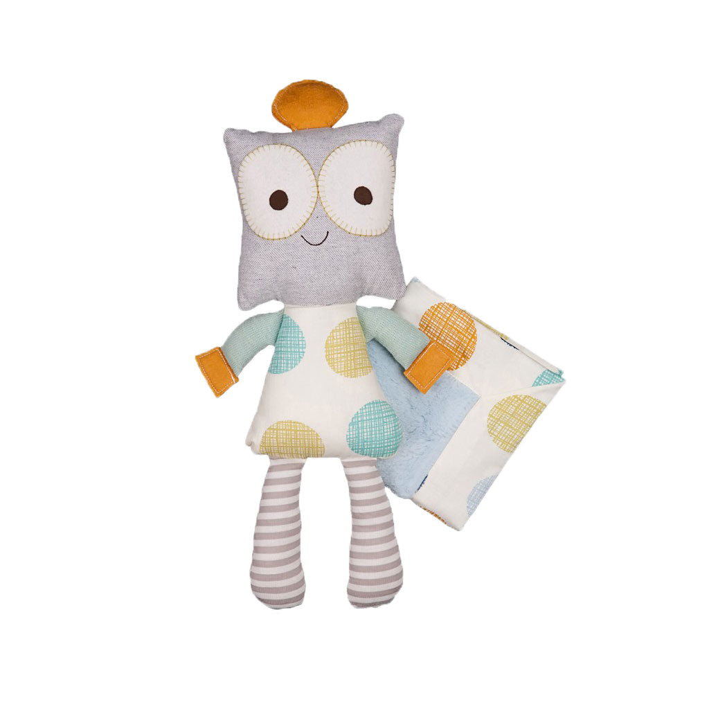 Living Textiles Baby Bot Softie Plush and Blankie
