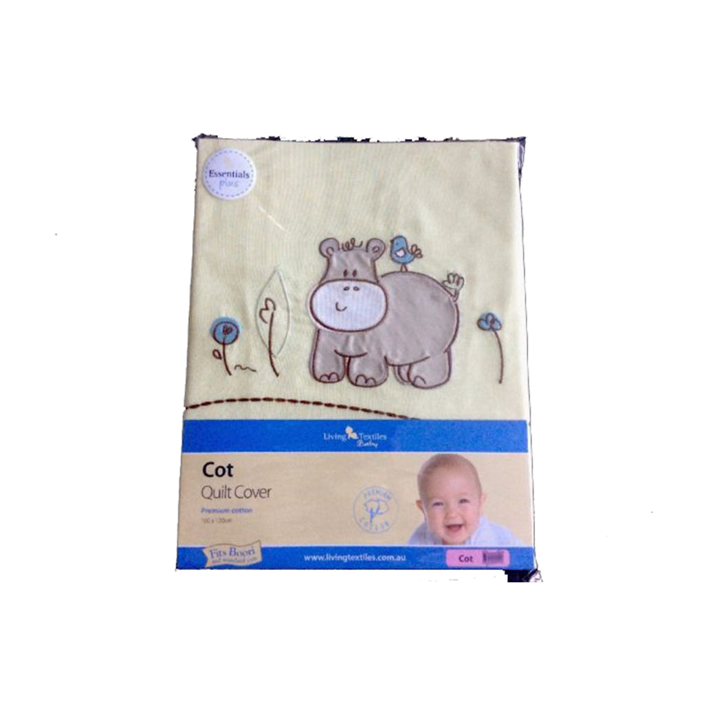 Living Textiles Cot Quilt Cover Little Hippo