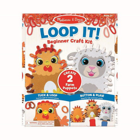 Melissa & Doug Loop It! Farm Puppets Beginner Craft Kit 3 years+