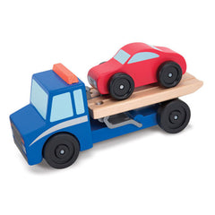 Melissa & Doug Flatbed Tow Truck Wooden Toy Set