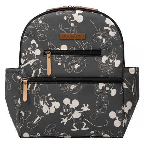 Petunia Pickle Bottom Ace Backpack in Mickey's 90th Vintage Black & White