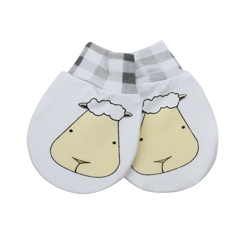 Baa Baa Sheepz Mittens Big Face Checkers + Small Moon Polka Dots