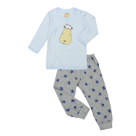 Baa Baa Sheepz Pyjamas Set Big Face Blue + Blue Star Grey