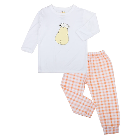 Baa Baa Sheepz Pyjamas Set Big Face White + Checkers Orange