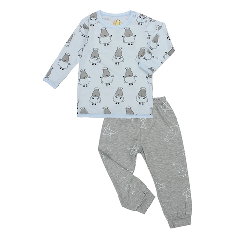 Baa Baa Sheepz Pyjamas Set Big Sheepz Blue + Big Star & Sheepz Grey