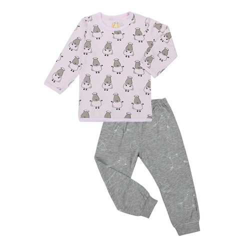 Baa Baa Sheepz Pyjamas Set Big Sheepz Pink + Big Moon & Sheepz Grey