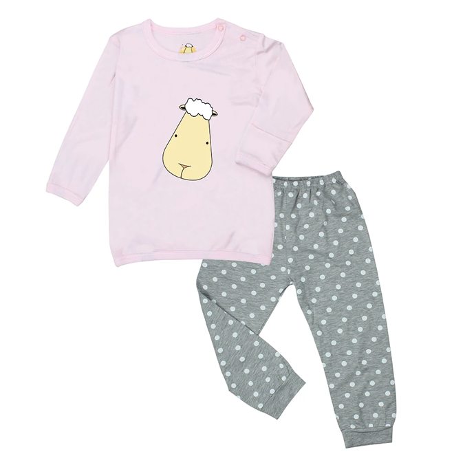 Baa Baa Sheepz Pyjamas Set Pink Big Face + Grey Polka Dot