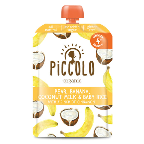 Piccolo Pear, Banana, Coconut Milk & Baby Rice with a pinch of Cinnamon