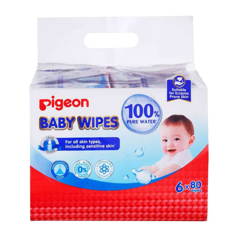 Pigeon 100% Water Wipes 6 x 80s