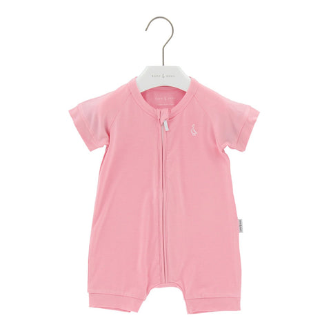 Raph&Remy Short Sleeve Premium Bamboo Zippie - Blush Pink