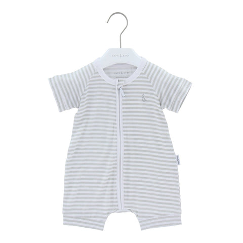 Raph&Remy Short Sleeve Premium Bamboo Zippie - Signature Stripe