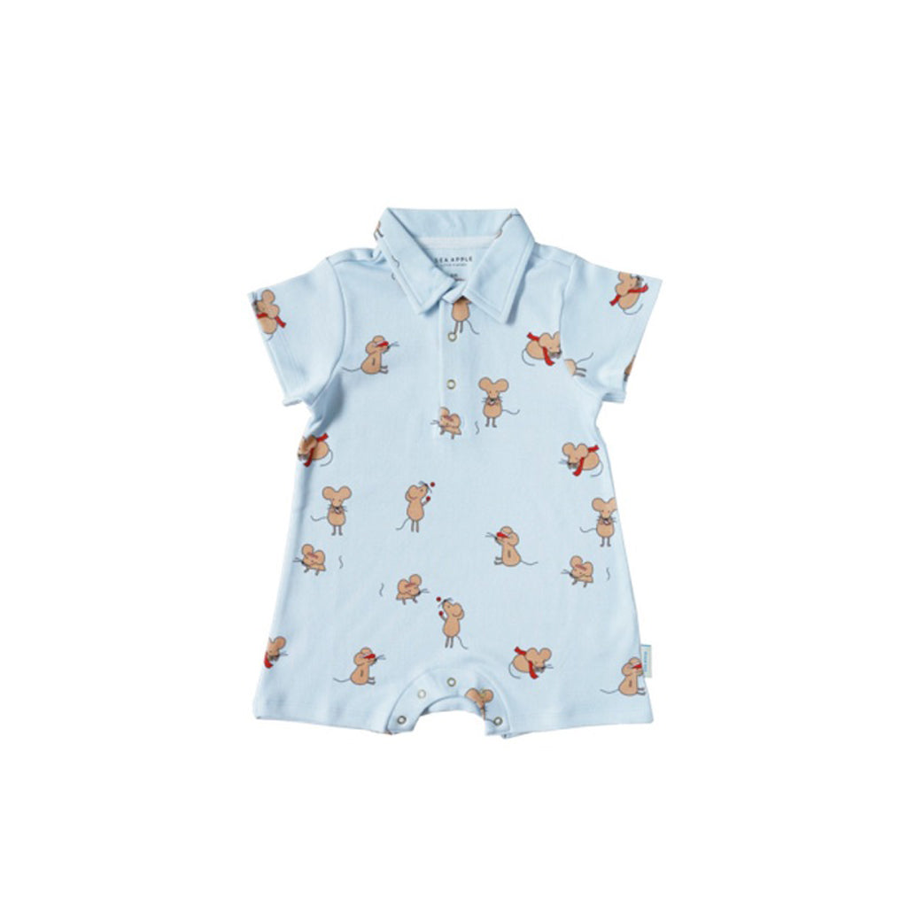 Sea Apple Hello Mouse Sky Collared Shorts Romper