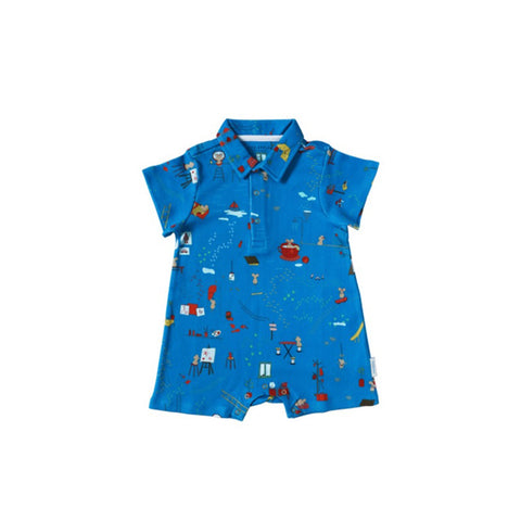 Sea Apple Mouse House Cobalt Collared Shorts Romper