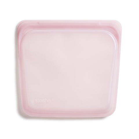 Stasher Reusable Silicone Bag, Rose Quartz, Sandwich Bag Size Medium (450 ml)