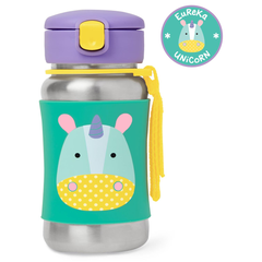Skip Hop Zoo Stainless Steel Little Kid Straw Bottle